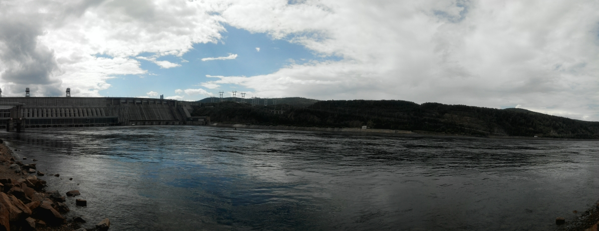 Divnogorsk city and Krasnoyarsk Dam on Yenisei river